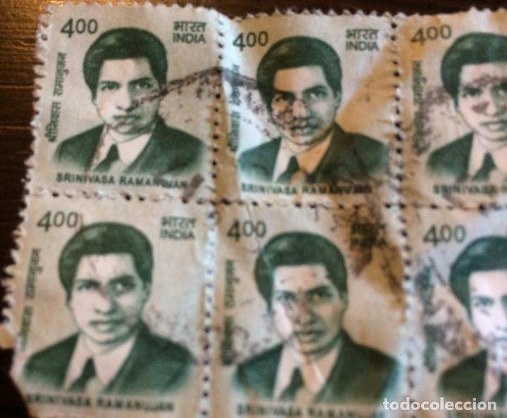 Sellos: 20 sellos de correos usados de la India. 4 rupias. Matemático Srinivasa Ramanujan en la imagen. - Foto 2 - 100597639