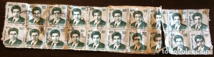 Sellos: 20 sellos de correos usados de la India. 4 rupias. Matemático Srinivasa Ramanujan en la imagen. - Foto 3 - 100597639