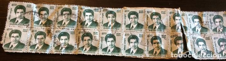 Sellos: 20 sellos de correos usados de la India. 4 rupias. Matemático Srinivasa Ramanujan en la imagen. - Foto 4 - 100597639