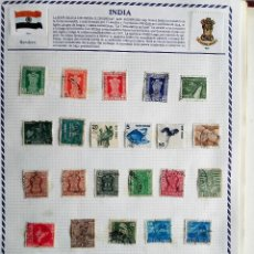 Sellos: INDIA, 3 HOJAS CON 57 SELLOS USADOS DIFERENTES CON CHARNELAS, VER FOTOS . Lote 111405139