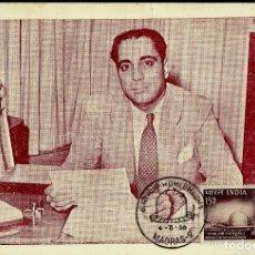 Sellos: INDIA 1966- YVERT 209 [DR. HOMI JEHANGIR BHABHA, CIENTIFICO] (TARJETA MÁXIMA). Lote 125164907