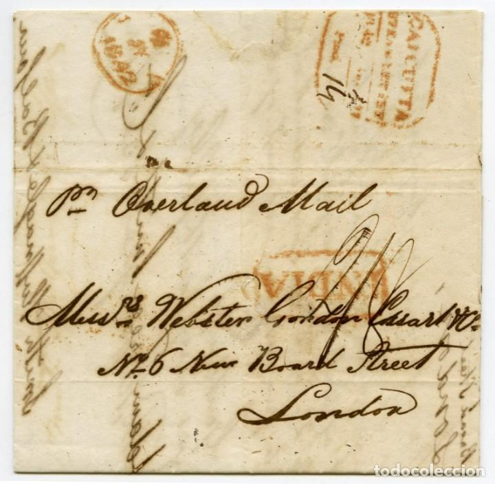 ENVUELTA CIRCULADA DE CALCUTTA, INDIA, A LONDRES, INGLATERRA, EN 1842 (Sellos - Extranjero - Asia - India)