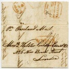 Sellos: ENVUELTA CIRCULADA DE CALCUTTA, INDIA, A LONDRES, INGLATERRA, EN 1842. Lote 145426290
