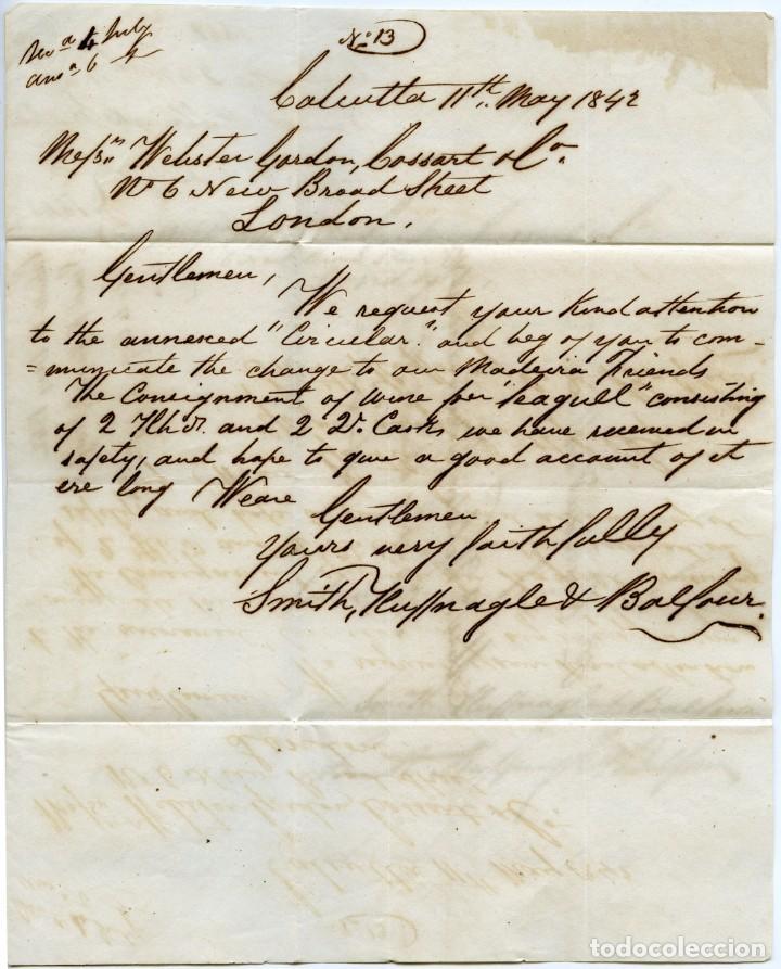Sellos: Envuelta circulada de Calcutta, India, a Londres, Inglaterra, en 1842 - Foto 2 - 145426290