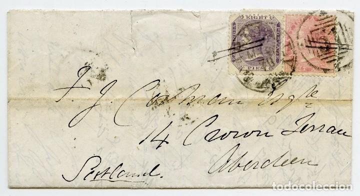 CARTA DE UN MILITAR DESDE CAMP BAREILLY, INDIA, A ABERDEEN, ESCOCIA, GRAN BRETAÑA. 1870 (Sellos - Extranjero - Asia - India)