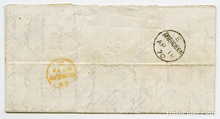 Sellos: Carta de un militar desde Camp Bareilly, India, a Aberdeen, Escocia, Gran Bretaña. 1870 - Foto 2 - 145433386
