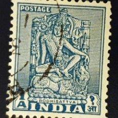 Sellos: INDIA - EMBLEMAS NACIONALES - BODHISATTVA - 1 A - 1949. Lote 147669222