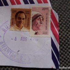 Sellos: PAREJA DE SELLOS DE LA INDIA CON SU MATASELLOS IMPRESO. Lote 153252750