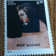 Sellos: INDIA: MÚSICA, COMPOSITORES, MOZART, AÑO 1991 MNH. Lote 154692077