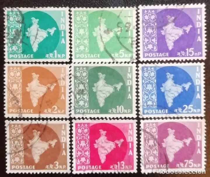 1957. VARIOS. INDIA. 71,72, 73, 74, 76, 77, 78, 80, 82. MAPA DE LA INDIA. SERIE CORTA. USADO. (Sellos - Extranjero - Asia - India)