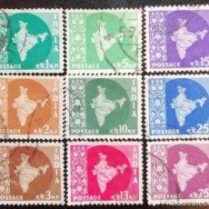 Sellos: 1957. VARIOS. INDIA. 71,72, 73, 74, 76, 77, 78, 80, 82. MAPA DE LA INDIA. USADO.. Lote 169938216