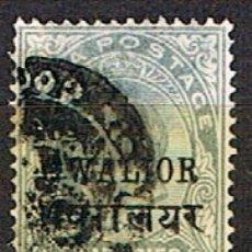 Sellos: GWALIOR (INDIA) Nº 30, LA REINA VICTORIA, SOBRECARGADO, USADO (AÑO 1899). Lote 176853704