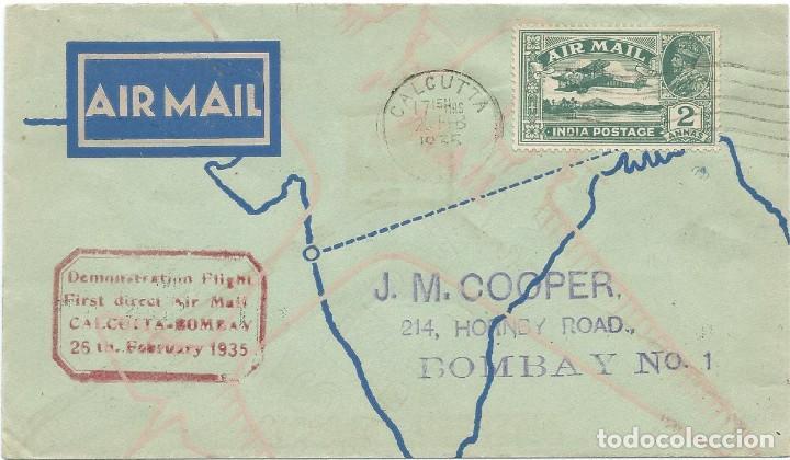 1935. INDIA. PRIMER VUELO CALCUTA-BOMBAY. MARCA AEROPOSTAL EN ROJO. MATASELLOS DE LLEGADA AL DORSO. (Sellos - Extranjero - Asia - India)