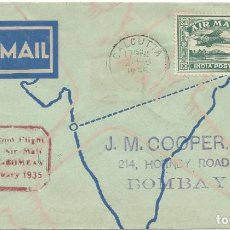 Sellos: 1935. INDIA. PRIMER VUELO CALCUTA-BOMBAY. MARCA AEROPOSTAL EN ROJO. MATASELLOS DE LLEGADA AL DORSO.. Lote 183736583