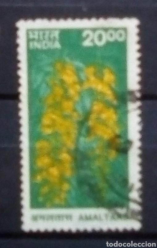 INDIA FLORA SELLO USADO (Sellos - Extranjero - Asia - India)