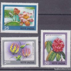 Sellos: INDIA 1977 - FLORES - YVERT Nº 518-519-521**. Lote 198706511