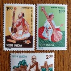 Sellos: INDIA, TEMA MÚSICA AÑOS 85' 86' Y 91' MNH (FOTOGRAFÍA REAL). Lote 199492130