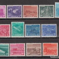 Sellos: INDIA, 1955 YVERT Nº 54 / 66 /*/. Lote 203401741