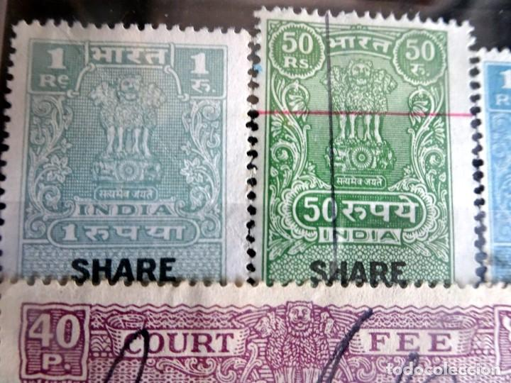 Sellos: LOTE DE 21 , TASAS OFICIALES INDIA, VARIADAS, VER FOTOS - Foto 6 - 205043025