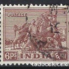 Selos: INDIA 1949 - EMBLEMAS NACIONALES, CABALLO KONARAK - SELLO USADO. Lote 207416112
