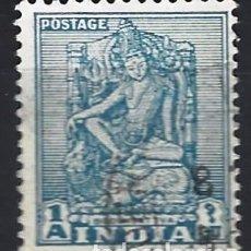 Selos: INDIA 1950-51 - EDIFICIOS Y ESCULTURAS, BODHISATTVA - SELLO USADO. Lote 207417188