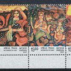 Sellos: INDIA 2007 IVERT 1961/4 *** DÍA DE LA MUJER - PINTURA - ARTE. Lote 214646536