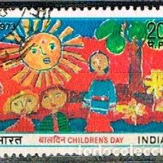 Sellos: INDIA Nº 586, DIA DE LA INFANCIA 1973, USADO. Lote 215174132
