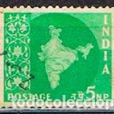 Sellos: INDIA Nº 292, MAPA DE LA INDIA, USADO. Lote 215198108