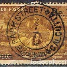 Sellos: INDIA Nº 354, ESCENA DE SHAKUNTALA E KALIDASA, SOBRECARGADO NUEVO PRECIO, USADO. Lote 215205697