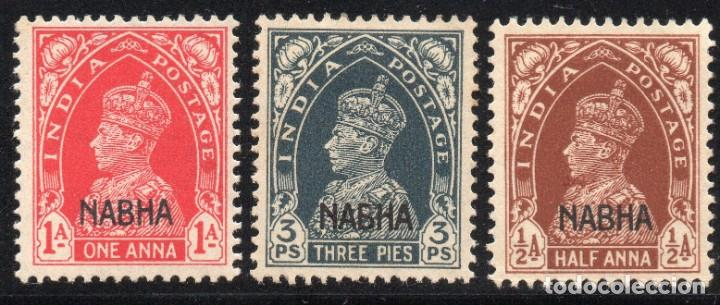 NABAH/1942/MH/SC#87-88, 90/ CONVENCION DE ESTADO DE INDIA / SOBREIMPRESO / ENVIO CERT. GRATUITO (Sellos - Extranjero - Asia - India)