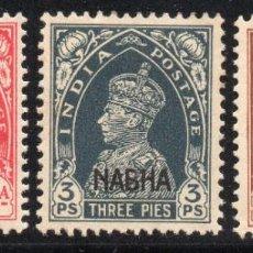 Sellos: NABAH/1942/MH/SC#87-88, 90/ CONVENCION DE ESTADO DE INDIA / SOBREIMPRESO / ENVIO CERT. GRATUITO. Lote 215520853