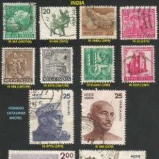 Sellos: INDIA 1967 A 1980 - LOTE VARIADO (VER IMAGEN) - 12 SELLOS USADOS. Lote 218009123