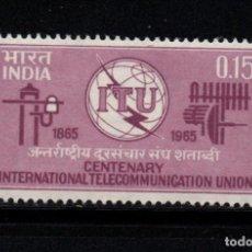 Sellos: INDIA 187** - AÑO 1965 - CENTENARIO DE LA UNION INTERNACIONAL DE TELECOMUNICACIONES. Lote 218137228
