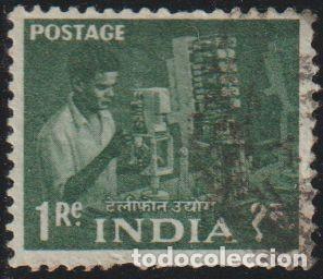 INDIA 1959 SCOTT 316 SELLO º INGENIERO DE TELEFONIA MICHEL 304 YVERT 108 STAMPS TIMBRE INDE (Sellos - Extranjero - Asia - India)