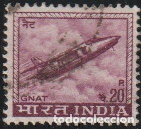 INDIA 1967 SCOTT 413 SELLO º AVION JET FIGHTER INDUSTRIA DE LA AVIACIÓN GNAT MICHEL 436X YVERT 226 (Sellos - Extranjero - Asia - India)