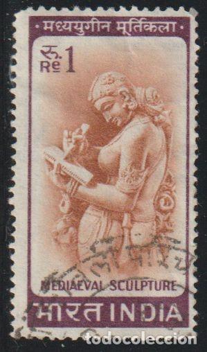 INDIA 1966 SCOTT 419 SELLO º MUJER ESCRIBIENDO UNA CARTA (MEDIEVAL SCULPUTURE) MICHEL 419 YVERT 194 (Sellos - Extranjero - Asia - India)