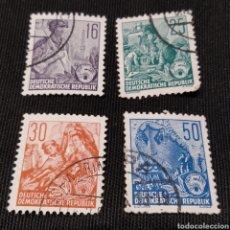 Sellos: LOTE DE 4 SELLOS PLAN QUINQUENAL DE LA REPÚBLICA DEMOCRÁTICA ALEMANA, AÑO 1953. Lote 220100116