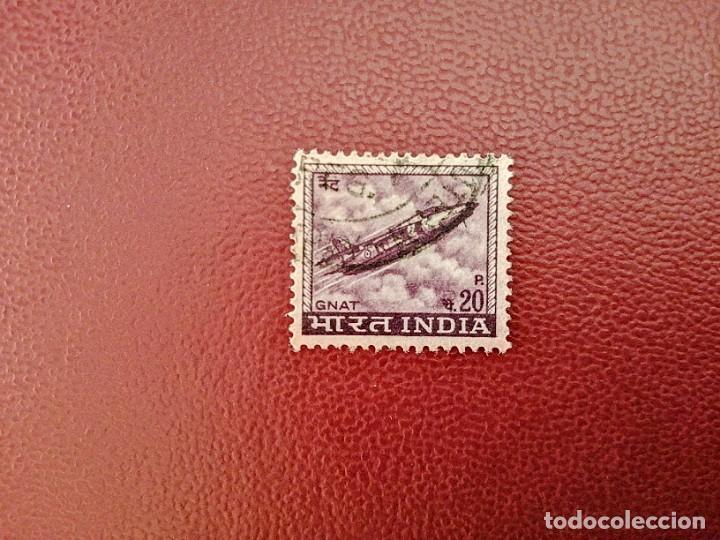 INDIA - VALOR FACIAL 20 P. - GNAT - AÑO 1967 - AVIÓN CAZA A REACCIÓN - YV 226 SC 413 (Sellos - Extranjero - Asia - India)