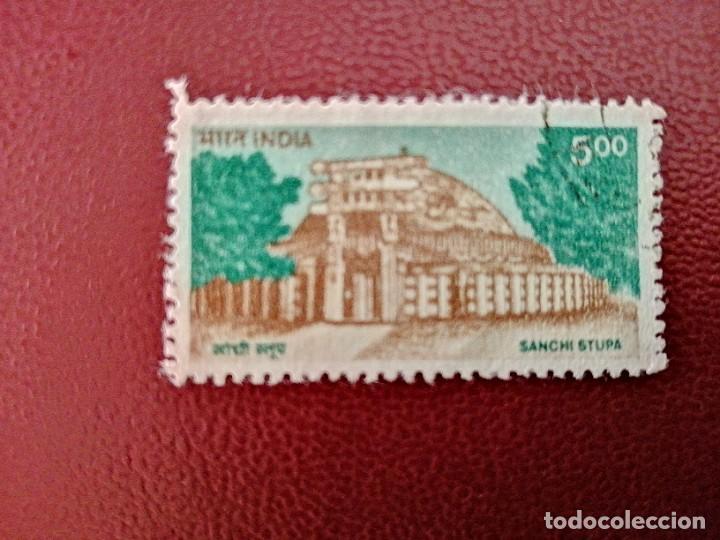 INDIA - VALOR FACIAL 5.00 - AÑO 1994 - EDIFICIOS: SANCHI STUPA (Sellos - Extranjero - Asia - India)