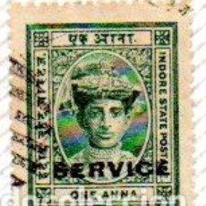 Sellos: INDIA. ESTADO INDORE. DOMINACIÓN BRITÁNICA, 1904, EN USADO. Lote 238442435