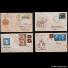 Sellos: 4X FDC INDIA 1960 BAHARTI DAY. UNICEF DAY. RHINOCEROS .HIGH COURT OF CALCUTTA. CIRCULADOS. Lote 239905035