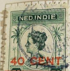 Timbres: SELLO INDIAS ORIENTALES NEERLANDESAS 1921 REINA GUILLERMINA (SOBREIMPRESA) 40 CÉNTIMO. Lote 249241655