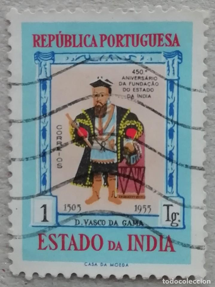 1955. INDIA-ESTADO DA INDIA. 466. 450 AÑOS DEL ASENTAMIENTO PORTUGUÉS EN INDIA. VASCO DA GAMA. USADO (Sellos - Extranjero - Asia - India)