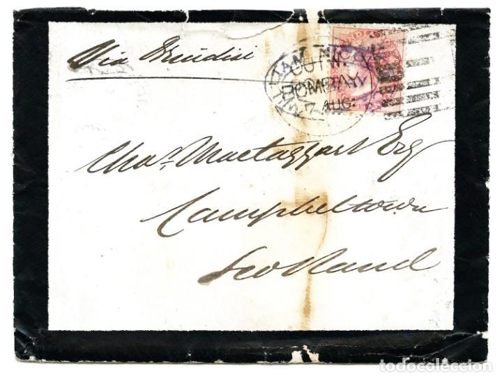 Sellos: 1875. Bombay a Campbeltown, Escocia (Gran Bretaña). 8 annas rojo. India - Foto 2 - 254592520