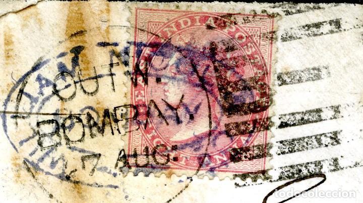 Sellos: 1875. Bombay a Campbeltown, Escocia (Gran Bretaña). 8 annas rojo. India - Foto 4 - 254592520