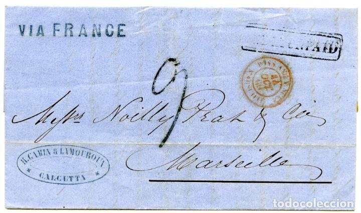 1860. CARTA DE CALCUTTA, INDIA, A MARSELLA, FRANCIA. MARCA INDIA UNPAID Y OTRAS (Sellos - Extranjero - Asia - India)