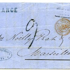 Sellos: 1860. CARTA DE CALCUTTA, INDIA, A MARSELLA, FRANCIA. MARCA INDIA UNPAID Y OTRAS. Lote 254602610