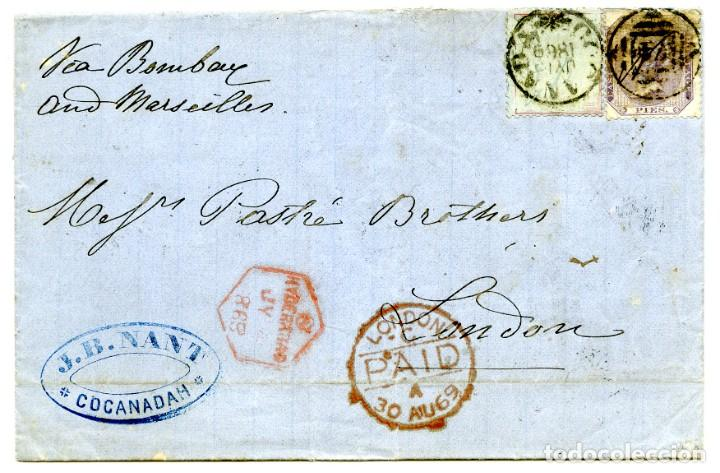 1869. KAKINADA O COCANADAH, INDIA A LONDRES, UK. MARCAS DE TRÁNSITO. 8P Y 8 ANNAS DE PAPEL AZULADO (Sellos - Extranjero - Asia - India)