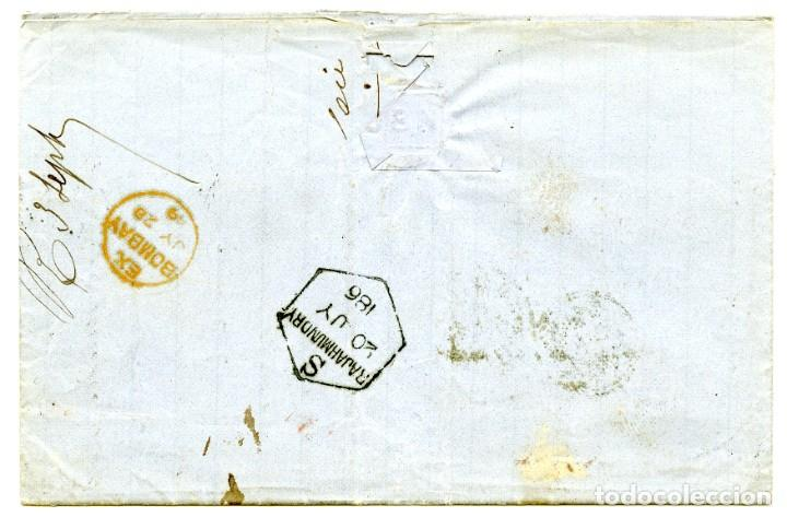 Sellos: 1869. Kakinada o Cocanadah, India a Londres, UK. Marcas de tránsito. 8p y 8 annas de papel azulado - Foto 2 - 254607365