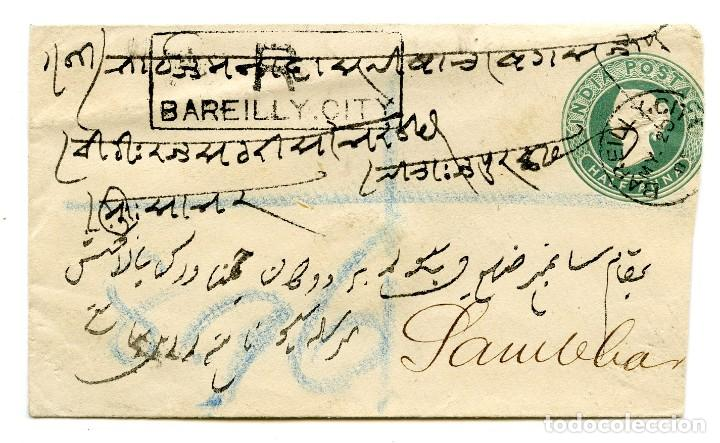 1885. SOBRE ENTERO POSTAL ENVIADO DE BAREILLY A SAMBHAR, INDIA, CON FRANQUEO ADICIONAL DE 2 ANNAS. (Sellos - Extranjero - Asia - India)